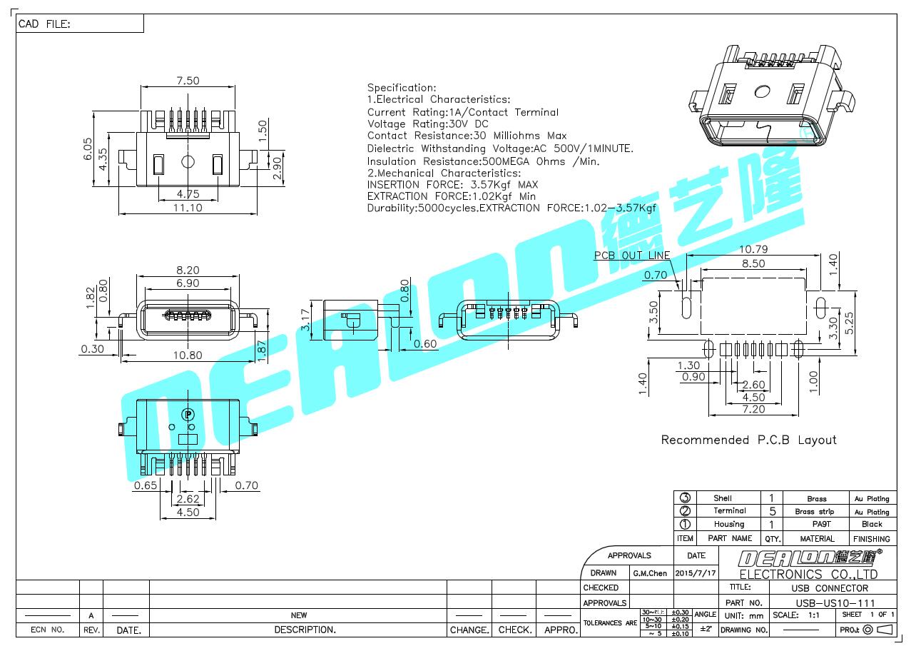 其输出端的正负极与防水usb插座插口的电源端的正负极对应联接,所述